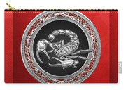 Treasure Trove - Sacred Silver Scorpion On Red Carry-all Pouch