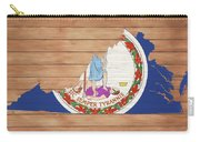 Virginia Rustic Map On Wood Carry-all Pouch