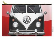 Volkswagen Type 2 - Black And White Volkswagen T 1 Samba Bus On Red  Carry-all Pouch