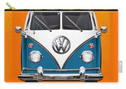 Volkswagen Type 2 - Blue And White Volkswagen T 1 Samba Bus Over Orange Canvas  Carry-all Pouch by Serge Averbukh