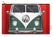 Volkswagen Type 2 - Green And White Volkswagen T 1 Samba Bus Over Red Canvas  Carry-all Pouch by Serge Averbukh