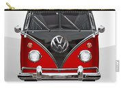 Volkswagen Type 2 - Red And Black Volkswagen T 1 Samba Bus On White  Carry-all Pouch by Serge Averbukh