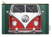 Volkswagen Type 2 - Red And White Volkswagen T 1 Samba Bus Over Green Canvas  Carry-all Pouch