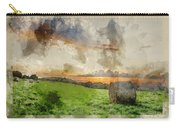 Watercolor Painting Of Beautiful Summer Vibrant Sunset Over Coun Carry-all Pouch