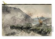Watercolor Painting Of Stunning Powerful Red Deer Stag Looks Out Carry-all Pouch
