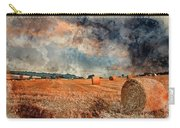 Watercolour Painting Of Beautiful Golden Hour Hay Bales Sunset L Carry-all Pouch