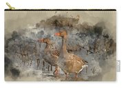 Watercolour Painting Of Beautiful Greylag Goose Anser Anser In W Carry-all Pouch