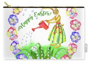 Welcome Spring.rabbit And Flowers Carry-all Pouch