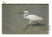 White Egret Bird On The Beach Carry-all Pouch