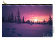 Winter Lanscape With Sunset, Trees And Cliffs Over The Snow. Carry-all Pouch