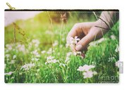 Woman Picking Up Flowers On A Meadow, Hand Close-up. Vintage Light Carry-all Pouch