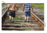 Young Boys On Railway Tracks Carry-all Pouch