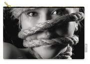 Young Expressive Woman Tied In Ropes Carry-all Pouch