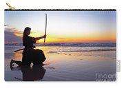 Young Samurai Women With Japanese Katana Sword At Sunset On The Beach Carry-all Pouch