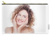 Young Smiling Woman With Curly Hair Portrait On White Carry-all Pouch