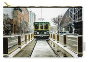 Streetcar Waiting For Passengers In Snowstrom In Uptown Charlott Carry-all Pouch