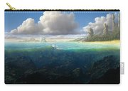 128098 Artwork Sea Fish Clouds Rock Formation Split View Carry-all Pouch