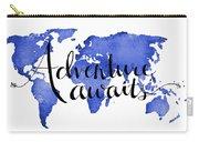 12x16 Adventure Awaits Blue Map Art Carry-all Pouch