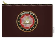 15th Degree - Knight Of The East Jewel On Black Leather Carry-all Pouch