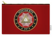 15th Degree - Knight Of The East Jewel On Red Leather Carry-all Pouch