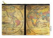 1858 Set Of Two Pelton Wall Maps, Western Hemisphere And Eastern Hemisphere  Carry-all Pouch