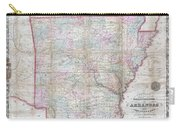 1859 Colton Pocket Map Of Arkansas  Carry-all Pouch