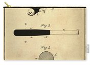 1902 Baseball Bat Patent In Sepia Carry-all Pouch