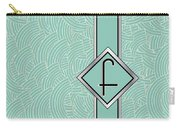 1920s Blue Deco Jazz Swing Monogram ...letter F Carry-all Pouch