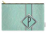 1920s Blue Deco Jazz Swing Monogram ...letter P Carry-all Pouch