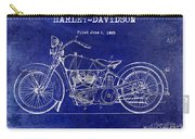 1928 Harley Davidson Patent Drawing Blue Carry-all Pouch