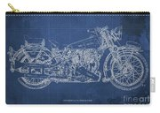 1939 Brough Superior Ss100 Blueprint Blue Background Carry-all Pouch
