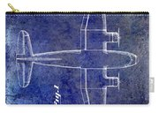 1945 Transport Airplane Patent Blue Carry-all Pouch