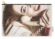 1950s Pinup Girl Talking On Retro Phone Carry-all Pouch