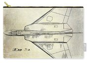 1956 Jet Airplane Patent 2 Blue Carry-all Pouch
