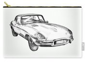 1964 Jaguar Xke Antique Sportscar Illustration Carry-all Pouch