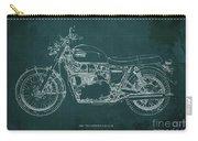 1969 Triumph Bonneville Blueprint Green Background Carry-all Pouch