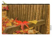 A Foliage Pillow On A Bench In A Woodland Carry-all Pouch
