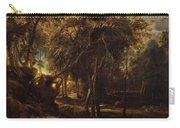 A Forest At Dawn With A Deer Hunt Carry-all Pouch