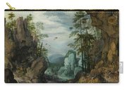 A Rocky Landscape With Travelers Carry-all Pouch