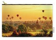 Bagan Pagodas And Hot Air Balloon Carry-all Pouch by Pradeep Raja PRINTS