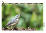Beautiful Nuthatch Bird Sitta Sittidae On Tree Stump In Forest L Carry-all Pouch
