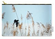 Black Bird In Cat Tails Carry-all Pouch