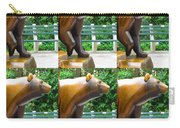 Bronze Statue Sculpture Of Bear Clapping Fineart Photography From Newyork Museum Usa Fineartamerica Carry-all Pouch