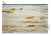Close-up Of Beautiful Sunlit Ripple Surface Of Sand In Desert  Carry-all Pouch