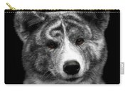 Closeup Portrait Of Akita Inu Dog On Isolated Black Background Carry-all Pouch
