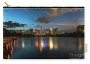 Clouds Roll Over The Austin Skyline As The Neon Reflects In The Glass-like Waters Of Lady Bird Lake Carry-all Pouch