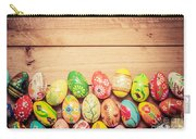 Colorful Hand Painted Easter Eggs On Wood Carry-all Pouch