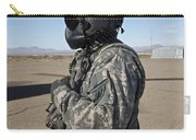 Crew Chief Of A Ch-47 Chinook Stands Carry-all Pouch