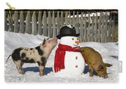 Curious Piglets And Snowman Carry-all Pouch