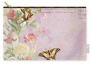 Fleurs De Pivoine - Watercolor W Butterflies In A French Vintage Wallpaper Style Carry-all Pouch